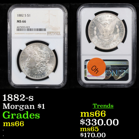 NGC 1882-s Morgan Dollar $1 Graded ms66 By NGC