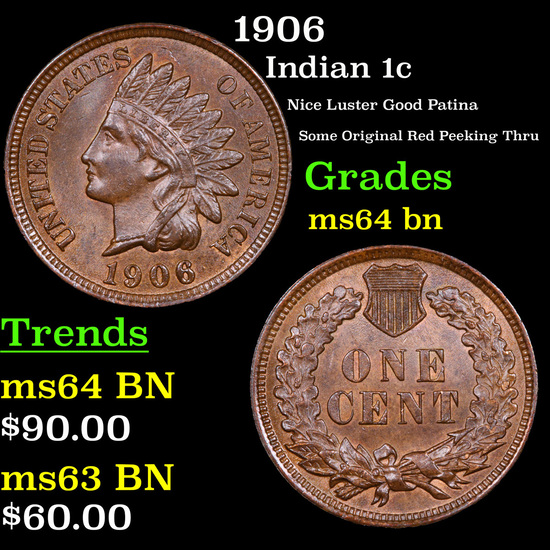 1906 Indian Cent 1c Grades Choice Unc BN