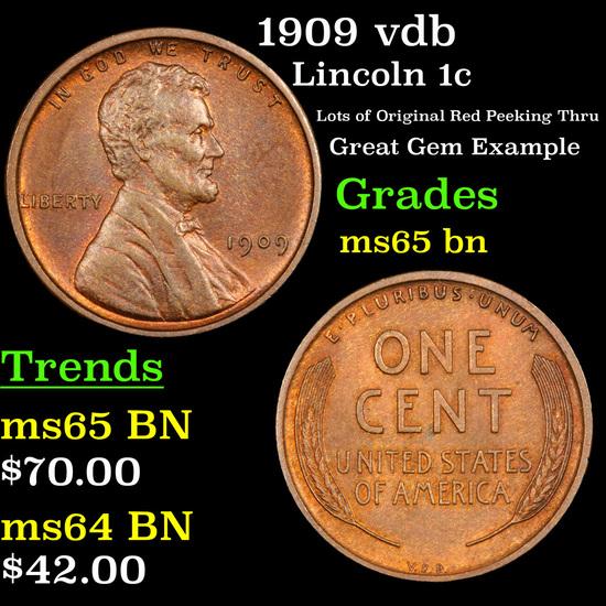 1909 vdb Lincoln Cent 1c Grades GEM Unc BN
