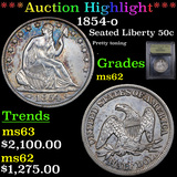 ***Auction Highlight*** 1854-o Seated Half Dollar 50c Graded Select Unc By USCG (fc)