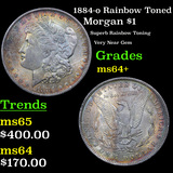 1884-o Rainbow Toned Morgan Dollar $1 Grades Choice+ Unc