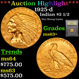 ***Auction Highlight*** 1925-d Gold Indian Quarter Eagle $2 1/2 Graded Select+ Unc By USCG (fc)