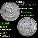 1861-p Seated Liberty Half Dime 1/2 10c Grades Unc Details