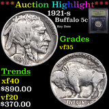 ***Auction Highlight*** 1921-s Buffalo Nickel 5c Graded vf++ By USCG (fc)