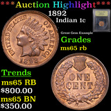 ***Auction Highlight*** 1892 Indian Cent 1c Graded GEM Unc RB By USCG (fc)
