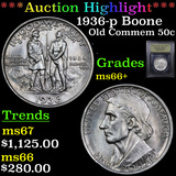 ***Auction Highlight*** 1936-p Boone Old Commem Half Dollar 50c Graded GEM++ Unc By USCG (fc)