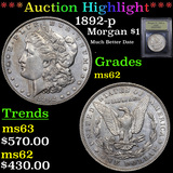 ***Auction Highlight*** 1892-p Morgan Dollar $1 Graded Select Unc By USCG (fc)