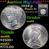 ***Auction Highlight*** 1934-p Peace Dollar $1 Graded GEM+ Unc By USCG (fc)