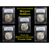 5 Unc Morgan $1 Graded By PCGS Mixed Dates From The McClaren Collection
