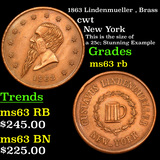 1863 Lindenmueller , Brass Civil War Token 1c Grades Select Unc RB