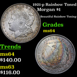 1921-p Rainbow Toned Morgan Dollar $1 Grades Choice Unc