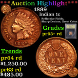 Proof ***Auction Highlight*** 1889 Indian Cent 1c Graded Select+ Proof Red By USCG (fc)