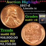 ***Auction Highlight*** 1917-d Lincoln Cent 1c Graded Gem+ Unc RD By USCG (fc)