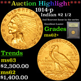 ***Auction Highlight*** 1914-p Gold Indian Quarter Eagle $2 1/2 Graded Select Unc By USCG (fc)