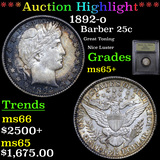 ***Auction Highlight*** 1892-o Barber Quarter 25c Graded GEM+ Unc By USCG (fc)