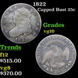 1822 Capped Bust Quarter 25c Grades vg+