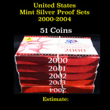 Group of 5 United States Mint Silver Proof Sets 2000-2004
