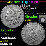 ***Auction Highlight*** 1884-s Morgan Dollar $1 Graded Choice AU/BU Slider By USCG (fc)