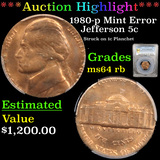 ***Auction Highlight*** PCGS 1980-p Mint Error Jefferson Nickel 5c Graded ms64 rb By PCGS (fc)
