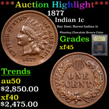 ***Auction Highlight*** 1877 Indian Cent 1c Graded xf+ By USCG (fc)