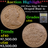 ***Auction Highlight*** 1797 Plain Edge W/ Stems Draped Bust Large Cent 1c Graded vf++ By USCG (fc)