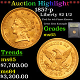 ***Auction Highlight*** 1857-p Gold Liberty Quarter Eagle $2 1/2 Graded GEM Unc By USCG (fc)