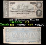 1864 $20 Confederate Note, T67 Grades f, fine