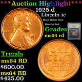 ***Auction Highlight*** 1925-d Lincoln Cent 1c Graded Choice Unc RD By USCG (fc)