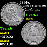 1891-o Seated Liberty Dime 10c Grades Select Unc