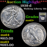 ***Auction Highlight*** 1938-d Walking Liberty Half Dollar 50c Graded Select+ Unc By USCG (fc)