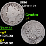 1886 Liberty Nickel 5c Grades g+