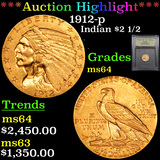 ***Auction Highlight*** 1912-p Gold Indian Quarter Eagle $2 1/2 Graded Choice Unc By USCG (fc)