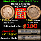Mixed small cents 1c orig shotgun roll, 1913-d Wheat Cent, 1896 Indian Cent other end, McDonalds Wra