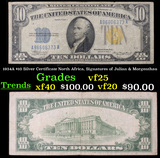 1934A $10 Silver Certificate North Africa, Signatures of Julian & Morgenthau Grades vf+