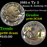 Proof 1981-s Ty 2 Susan B. Anthony $1 Grades GEM++ Proof Deep Cameo