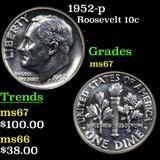 1952-p Roosevelt Dime 10c Grades GEM++ Unc
