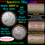 ***Auction Highlight*** Full solid Key date 1897-o Morgan silver $1 roll, 20 coins (fc)