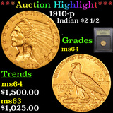***Auction Highlight*** 1910-p Gold Indian Quarter Eagle $2 1/2 Graded Choice Unc By USCG (fc)