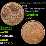 1863 Staudingers 116 Broadway N.Y. Civil War Token 1c Grades Select AU