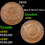 1870 Two Cent Piece 2c Grades xf