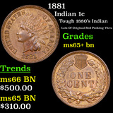 1881 Indian Cent 1c Grades GEM+ Unc BN