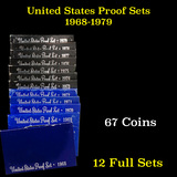 Group of 12 United States Proof Sets 1968-1979 67 coins