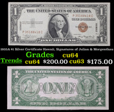 1935A $1 Silver Certificate Hawaii, Signatures of Julian & Morgenthau Grades Choice CU