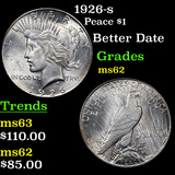 1926-s Peace Dollar $1 Grades Select Unc