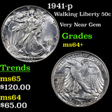 1941-p Walking Liberty Half Dollar 50c Grades Choice+ Unc