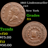 1863 Lindenmueller Civil War Token 1c Grades f+