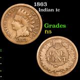 1863 Indian Cent 1c Grades f+