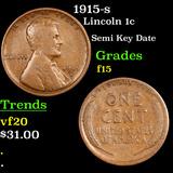 1915-s Lincoln Cent 1c Grades f+
