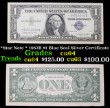 *Star Note * 1957B $1 Blue Seal Silver Certificate Grades Choice CU