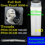 Proof 2006-s Jefferson Nickels 5c roll, 40 pieces (fc)